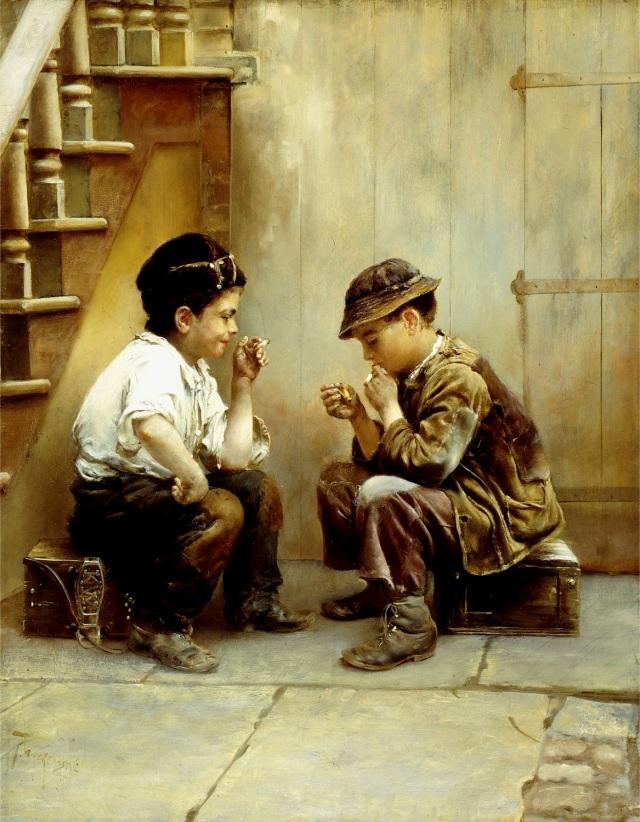 Karl_Witkowski_Their_First_Smoke - 1889