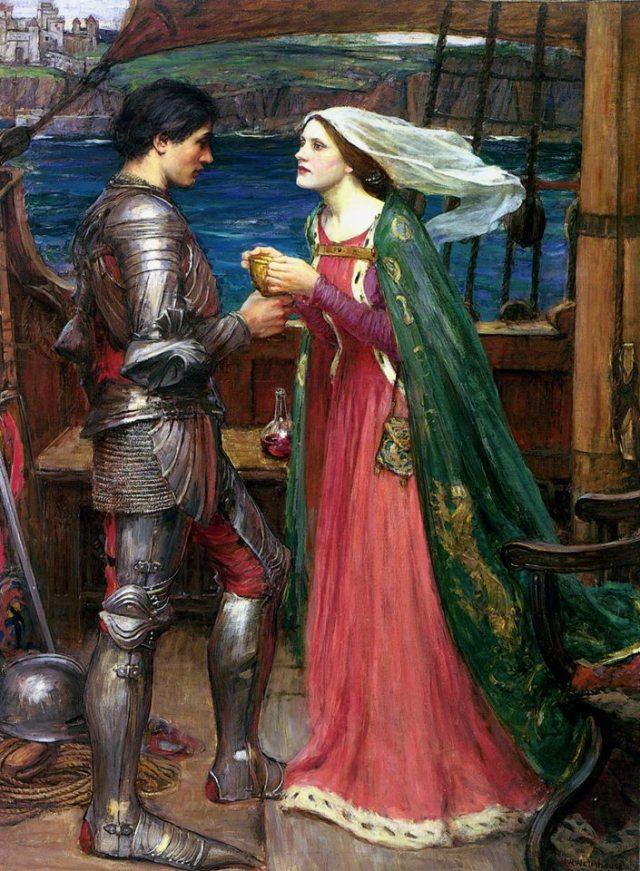 """John William Waterhouse - """"Tristán e Isolda compartiendo la poción"""" (1916,"""