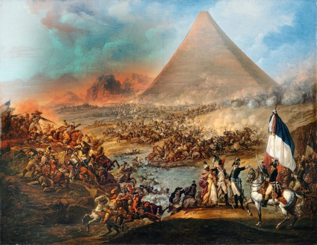 François-Louis-Joseph Watteau - batalla_ante_las_piramides_1798-99