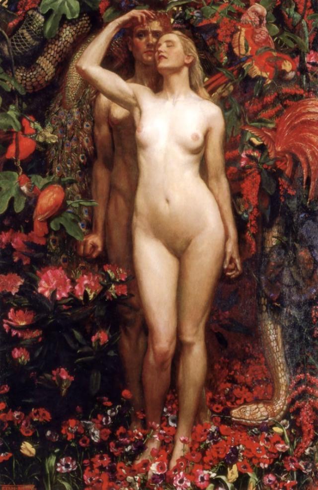 John Byam Liston Shaw_The_Woman_The_Man_the_Serpent - 1911 (pareja)